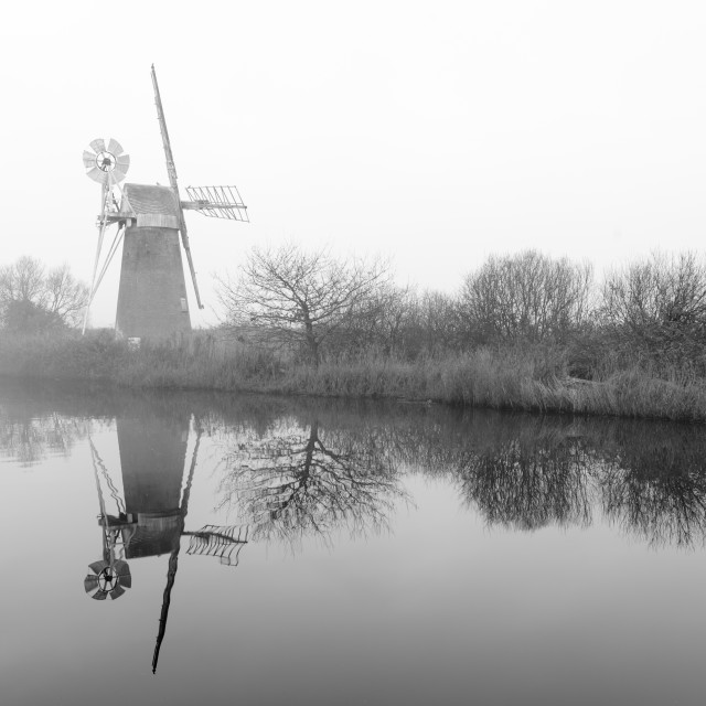 """Misty morning at How Hill mill ix"" stock image"