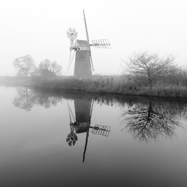"""Misty morning at How Hill mill viii"" stock image"