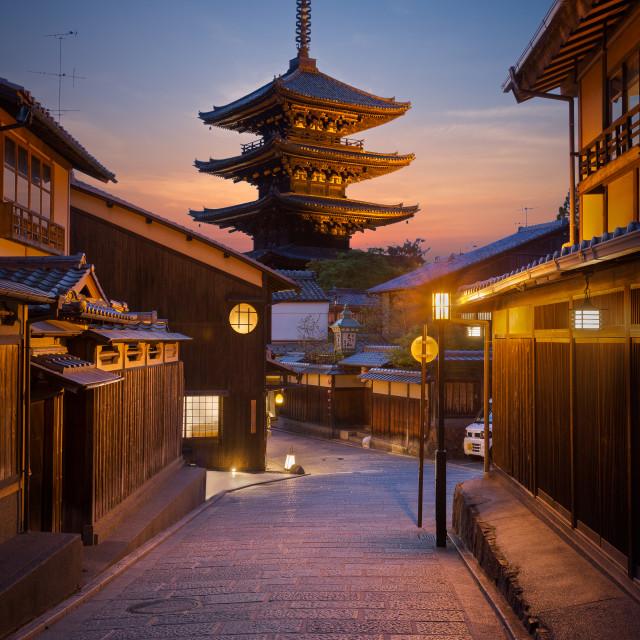 """Kyoto's Yasaka Pagoda at twilight"" stock image"