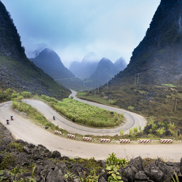 """The road on the high mountain in the province Ha Giang, Vietnam"" stock image"