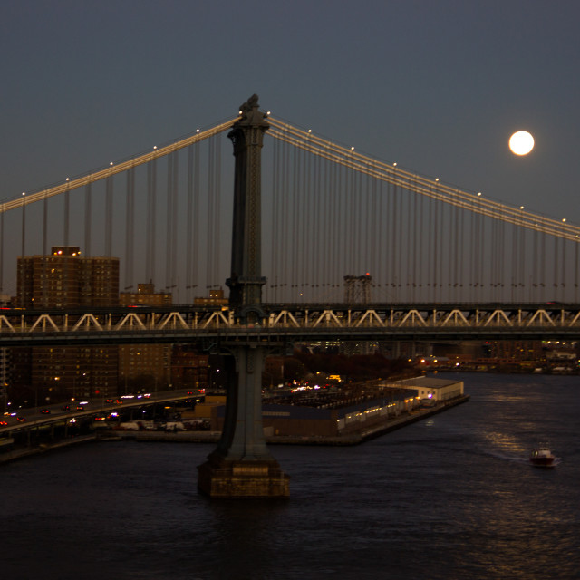 """Manhattan Bridge right after sunset"" stock image"