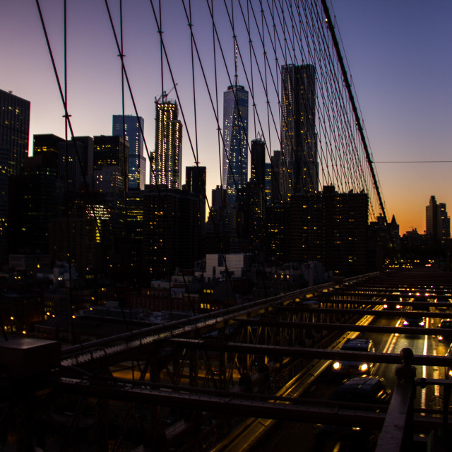 """Brooklyn Bridge right before the night"" stock image"