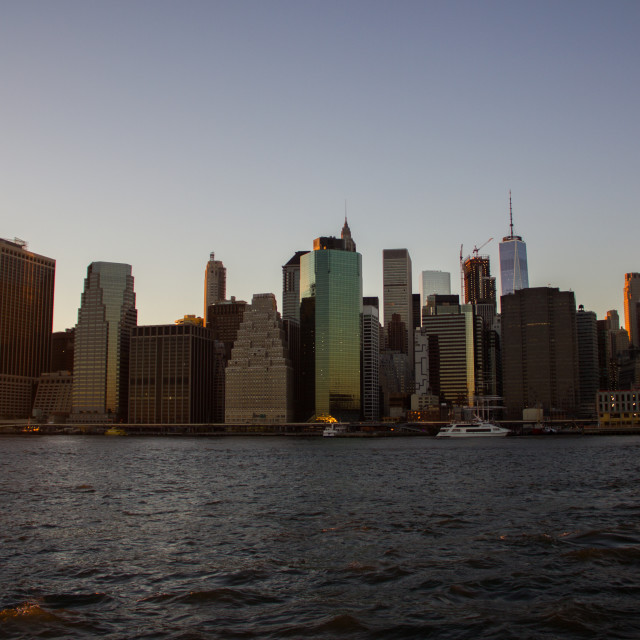 """The view of New York City in the sunset"" stock image"