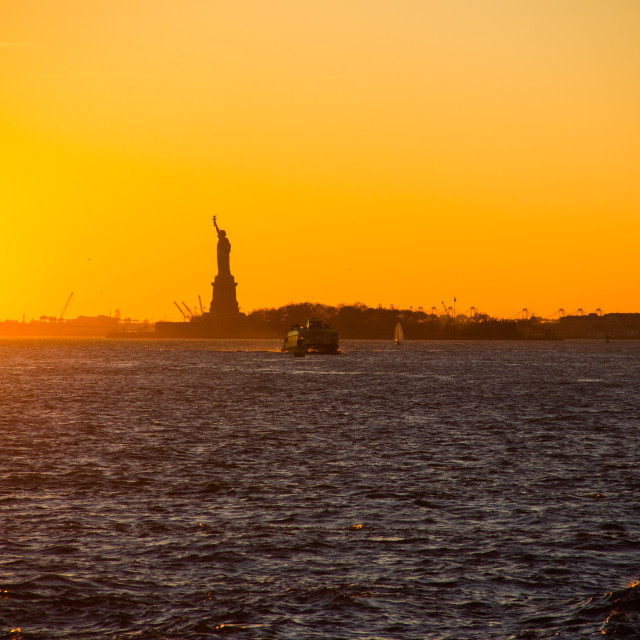 """The Statue of Liberty in the sunset"" stock image"