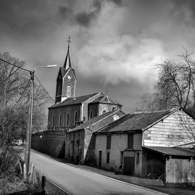 """church near Rendeux"" stock image"