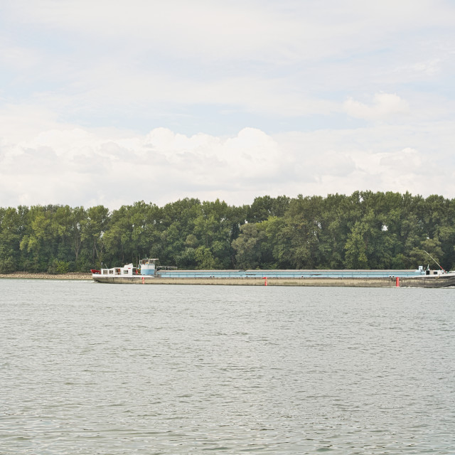 """Barge on Danube River"" stock image"