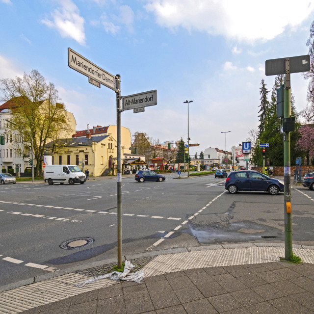 """""""Street scene at a large intersection in an outskirt of berlin"""" stock image"""