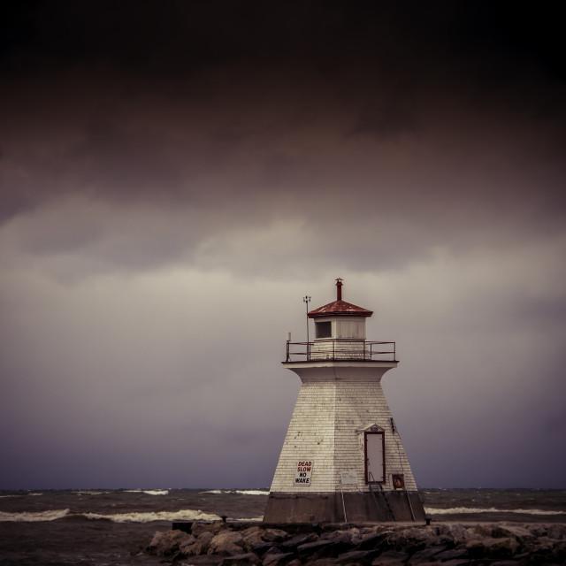 """Lighthouse on Lake Huron"" stock image"