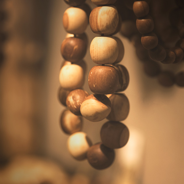 """Wood beads in macro"" stock image"