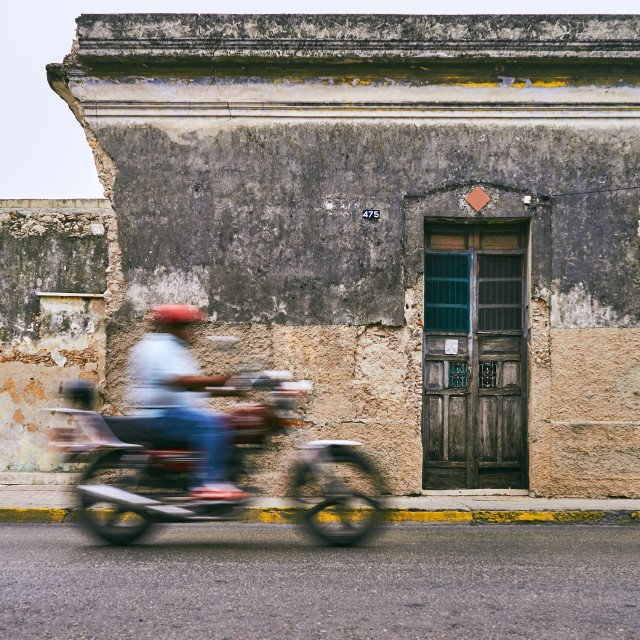 """Merida / Yucatan, Mexico - June 1, 2015: The bike moving in blur"" stock image"