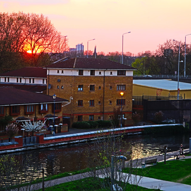 """Sunset over Hackney Wick"" stock image"