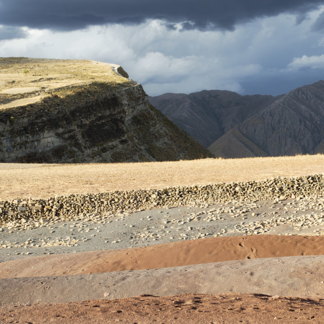 """""""Panoramic Scenic Landscape At Maragua Crater With Heavy Clouds O"""" stock image"""