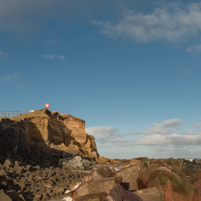 """""""Dawn at Happisburgh beach X Collapsed cliffs"""" stock image"""