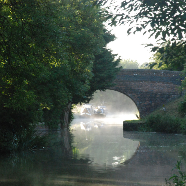 """Early Morning on the Kennet & Avon Canal"" stock image"
