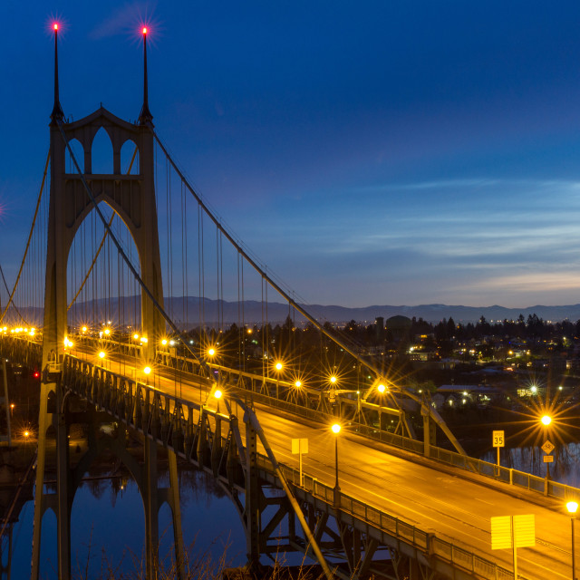 """St. Johns Bridge just before Sunrise"" stock image"