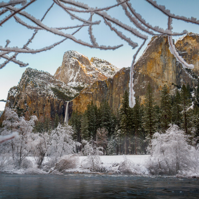 """Bridalveil Falls in Winter"" stock image"