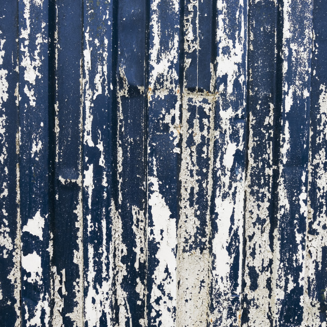 """""""distressed blue and white container side"""" stock image"""