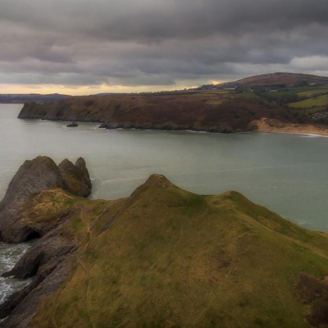 """Three Cliffs Bay Gower"" stock image"