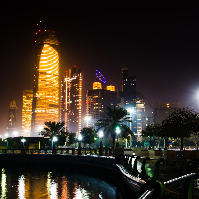 """""""Abu Dhabi cityscape view from Corniche at night"""" stock image"""