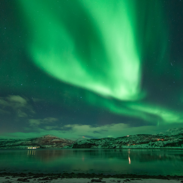 """Northern lights above a small fjord"" stock image"