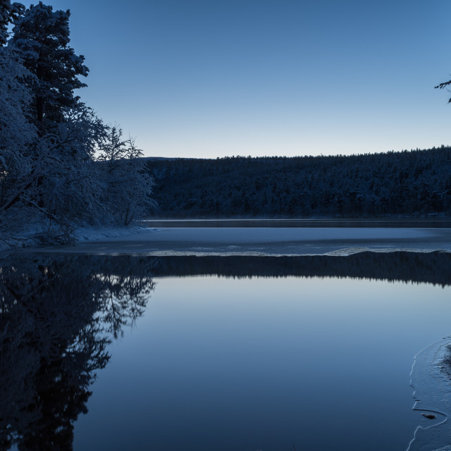 """Quiet lake in winter"" stock image"