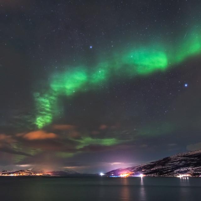 """Aurora Borealis above Alta fjord"" stock image"