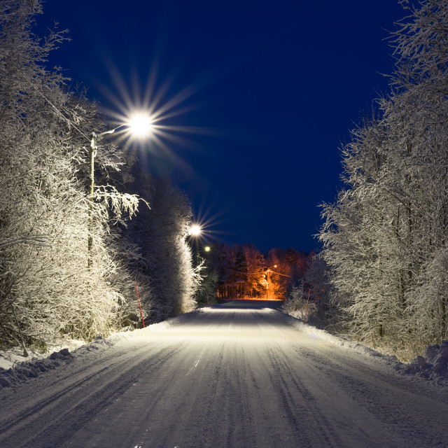 """Small road in winter with snow"" stock image"