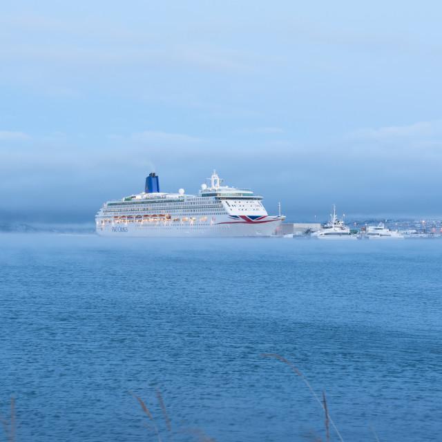 """Oriana cruiseship in Alta harbor"" stock image"