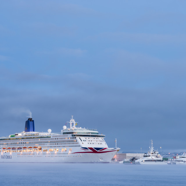 """Oriana cruiseship in Alta harbor in wintertime"" stock image"