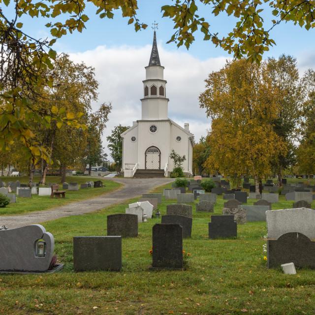 """Alta church in autumn"" stock image"