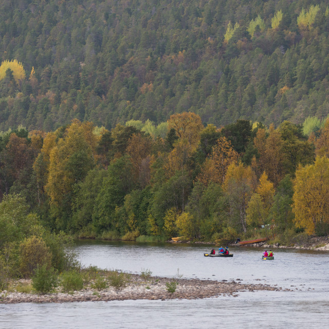 """""""Canoeing on Alta river"""" stock image"""