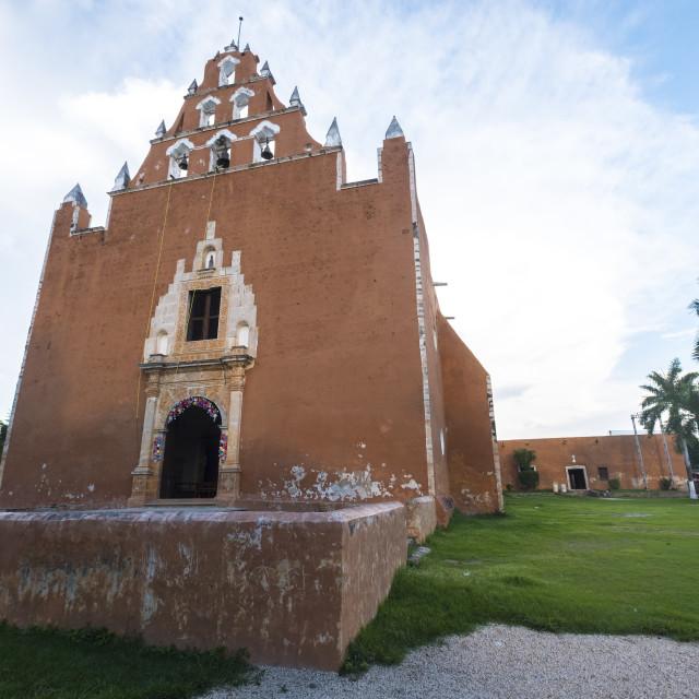"""Church of Mama village, ex convent, in Yucatan Mexico"" stock image"
