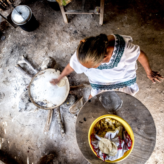 """Manufacture of Mexican corn tortillas inside a traditional Mayan house in the state of Yucatan in Mexico"" stock image"