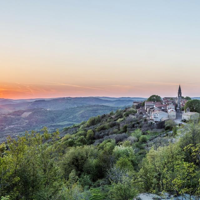 """Sunset in springtime in Draguc, Istria, Croatia"" stock image"