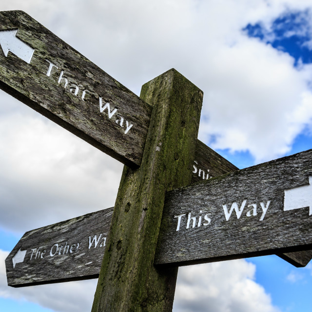 """This Way, That Way, The Other Way Sign in the Peak District"" stock image"