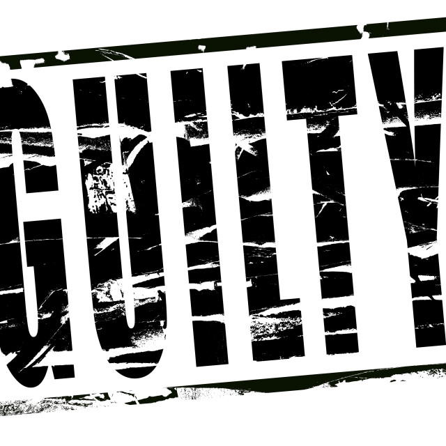 """Digital composite - Black stamp effect - Guilty"" stock image"