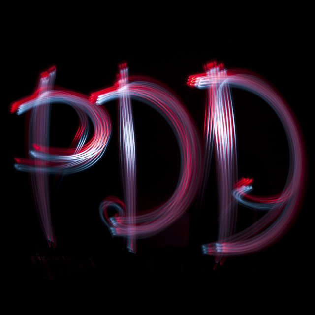 """PDD written with cycle lights. PDD can denote Photodynamic Diagnosis. PDD is..."" stock image"