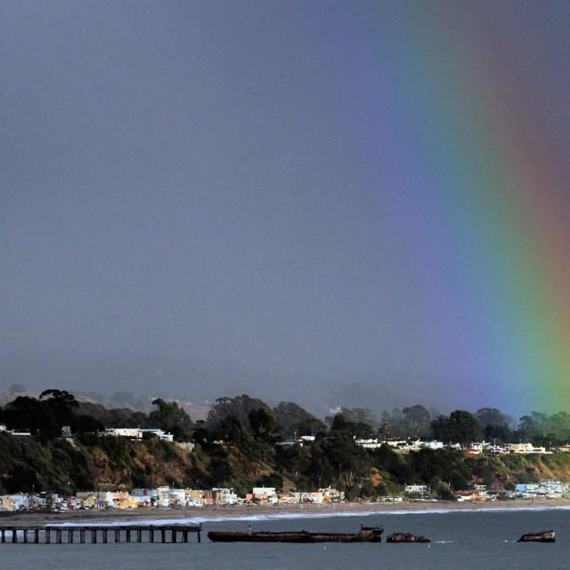 """""""Monterey Bay Rainbow"""" stock image"""