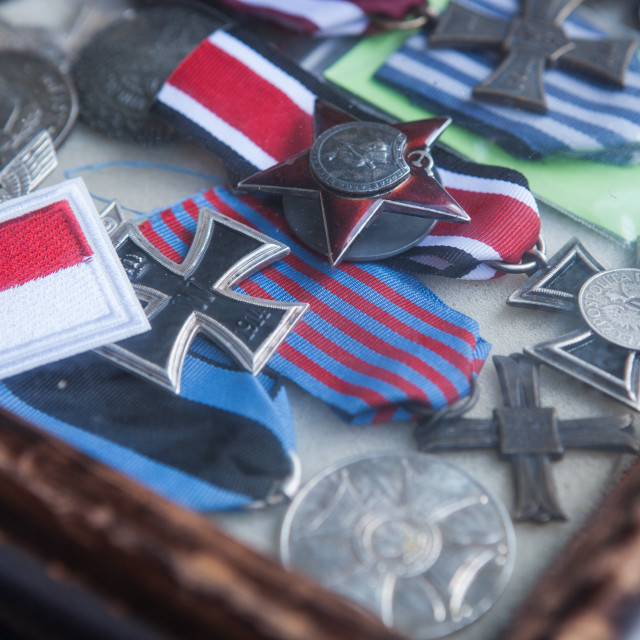 """World War 2 medals in Krakow"" stock image"