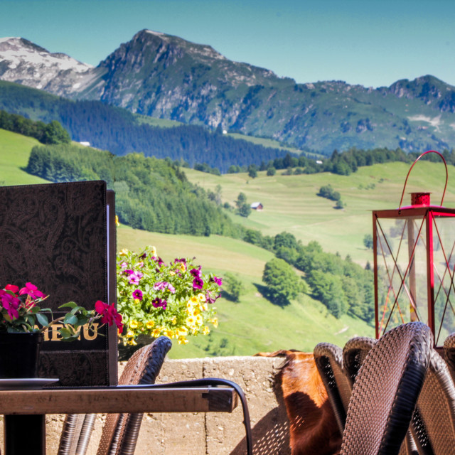"""""""A table with a view"""" stock image"""