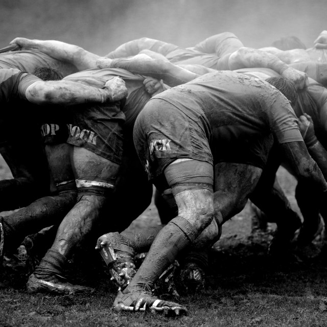 """Muddy Rugby Scrum"" stock image"
