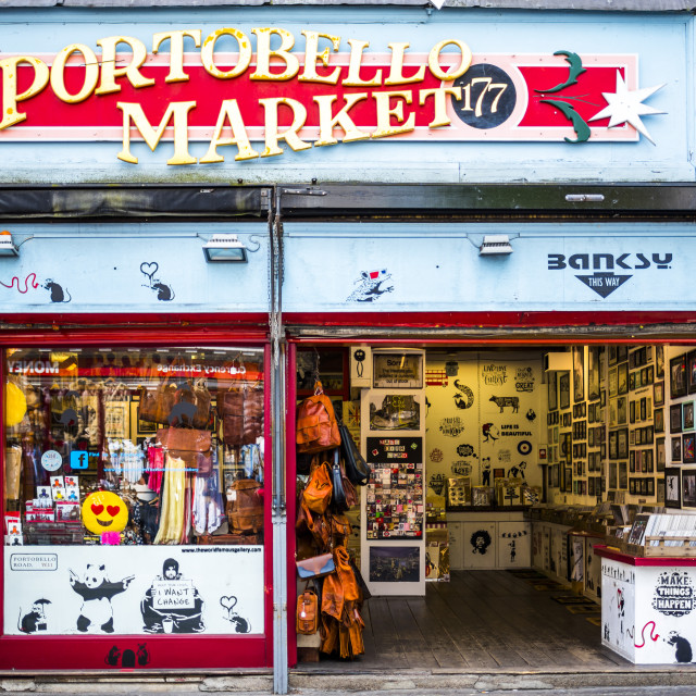 """Portobello Road Market, Royal Borough of Kensington and Chelsea, London, England"" stock image"