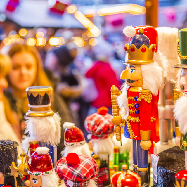"""Wooden soldiers on Christmas Market stall at Christmas Market, Millenium..."" stock image"