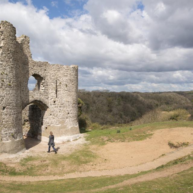 """Pennard Castle, Gower, Wales, UK"" stock image"
