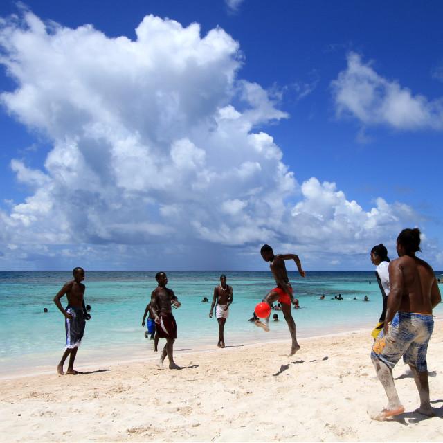 """Football on the Beach, Antigua"" stock image"