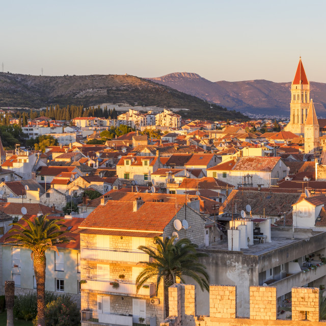 """Elevated view from Kamerlengo Fortress over the old town of Trogir at sunset"" stock image"