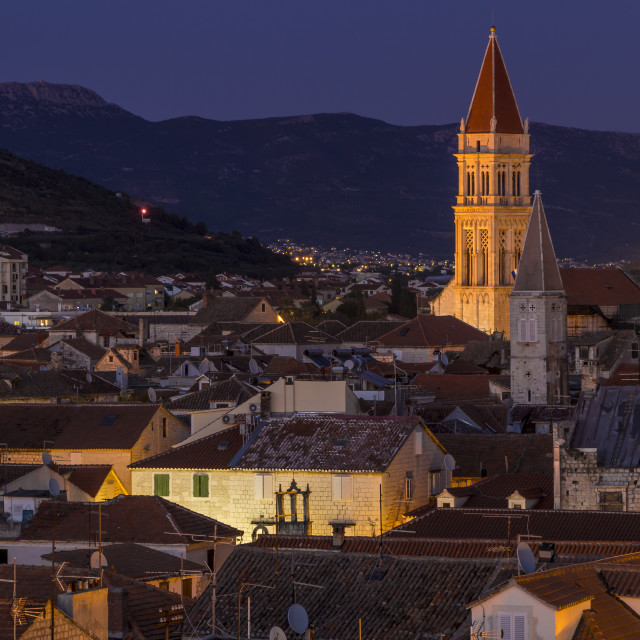 """Elevated view from Kamerlengo Fortress over the old town of Trogir at dusk"" stock image"