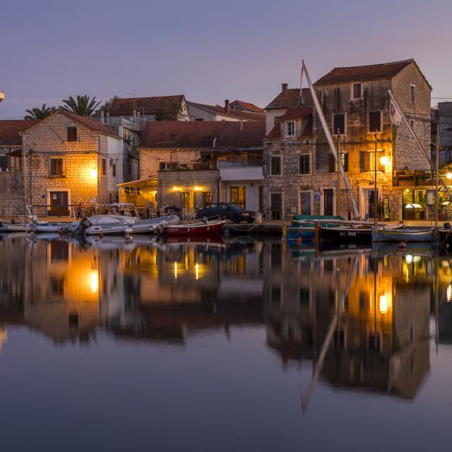 """The old town of Vrboska on Hvar Island at dusk"" stock image"