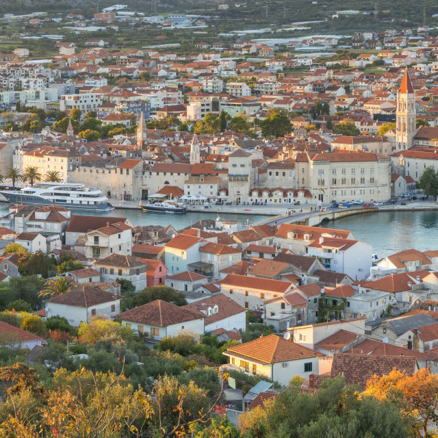 """Elevated view over the old town of Trogir at sunset"" stock image"