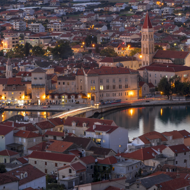 """Elevated view over the old town of Trogir at dusk"" stock image"